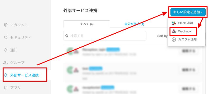 外部サービス連携>新しい設定を追加>Webhookを選択