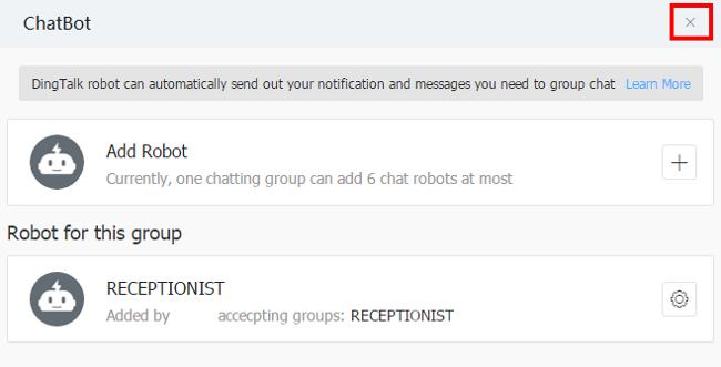 Chat bot確認画面を閉じる